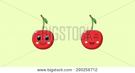 Cute Kawaii Cherry, Cartoon Ripe Fruit. Vector Illustration Of Cartoon Red Cherry With Charming And
