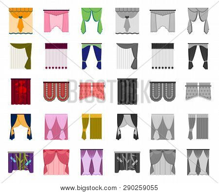 Different Kinds Of Curtains Cartoon, Mono Icons In Set Collection For Design. Curtains And Lambrequi