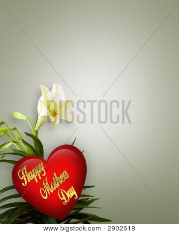 Mothers Day Floral With Heart And Text Corner Design
