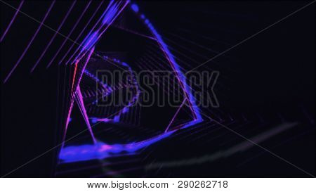 Abstract Light Tunnel. Retro Disco Lights. Neon Background.