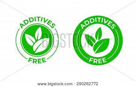 Additives Free Vector Green Organic Leaf Icon. Additives Free No Added, Natural Organic Food Package