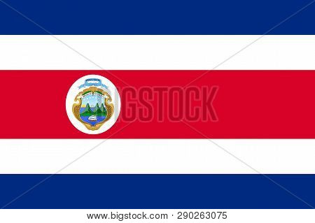 National Flag Of Republic Costa Rica With Emblem. Costa Rican Patriotic Symbol With Official Colors.