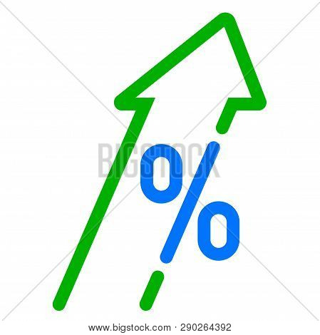 Gdp High Growth, Green Arrow And Percent Icon. Vector Gdp, Investment Profit Increase Arrow Up Symbo