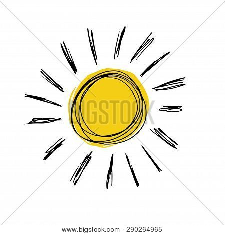 Hand Drawn Vector Illustration Of Yellow Sun Icon Isolated On White. Sun Logo Design. Summer Sun Log