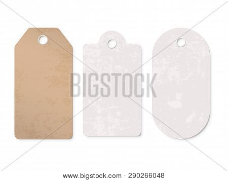 Price Tag Labels Set. Vector Sale Cardboard Paper Gift Blank Pricetag Isolated