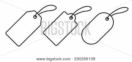 Price Tag Label Icons Set. Vector Sale Gift Blank Pricetag Outline Isolated On White Background