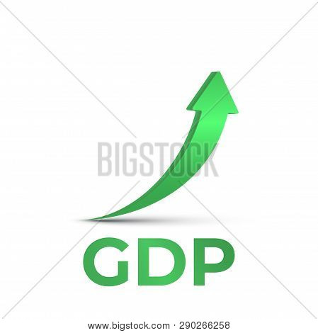 Gdp High Growth, Green Arrow Up Icon. Vector Gdp Increase, Business Profit Symbol