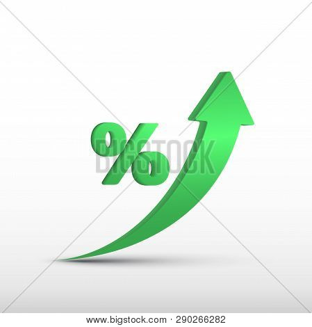 Gdp High Growth, Green Arrow Up And Percent Icon. Vector Gdp Increase, Business Profit Symbol