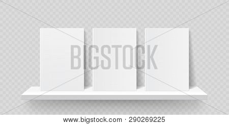 Book Shelf Mockup. Vector Bookshelf Wall With Blank Book Front Covers, Brochure Gallery Shop Shelves