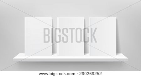Book Shelf Mockup. Vector Bookshelf Wall, Book Front Covers, Gallery Shop Shelves 3d Template