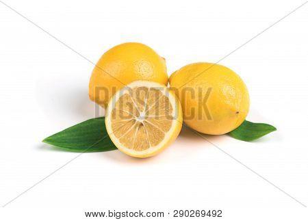Ripe Lemon With Green Leaves