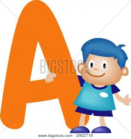 Boy With Alphabet Letter A