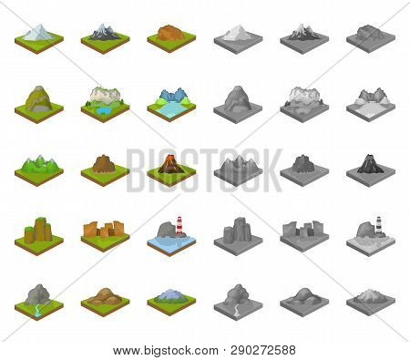 Mountains, Massive Cartoon, Mono Icons In Set Collection For Design. The Surface Of The Earth Vector