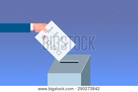 Election Day Concept Voter Hand Putting Paper Ballot List In Box During Voting Flat Horizontal