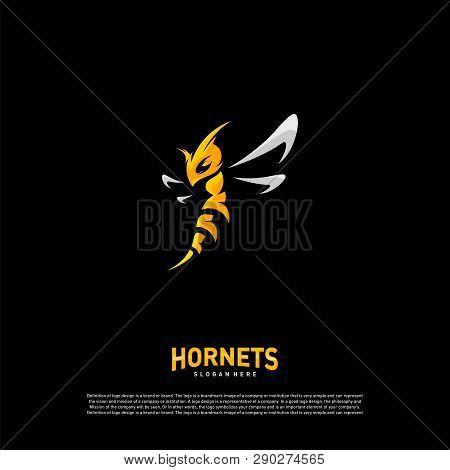 Bee Logo Design Vector. Hornets Logo Template. Icon Symbol