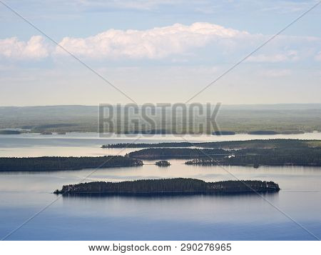 Summer Landscape View Over The Lake Pielinen From The Top Of The Ukkokoli, A Fell At The National Pa