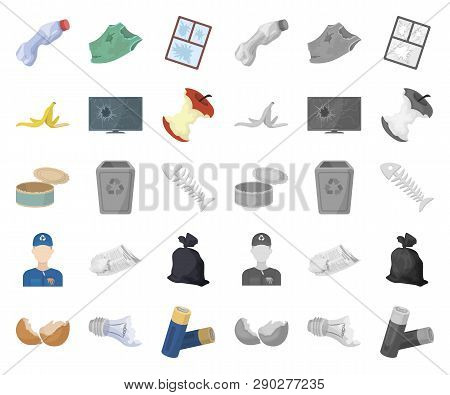 Garbage And Waste Cartoon, Mono Icons In Set Collection For Design. Cleaning Garbage Vector Symbol S