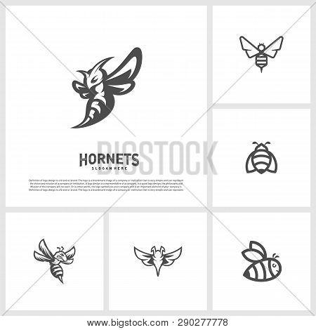 Set Of Bee Logo Design Vector. Hornets Logo Template. Icon Symbol