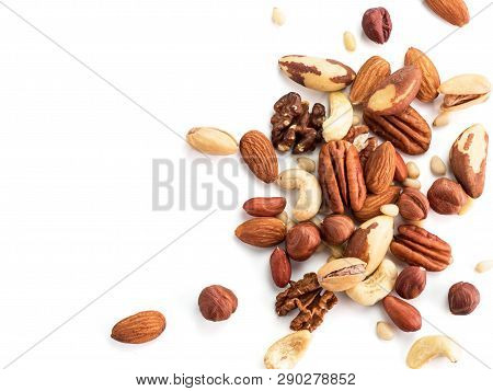Background Of Nuts - Pecan, Macadamia, Brazil Nut, Walnut, Almonds, Hazelnuts, Pistachios, Cashews,