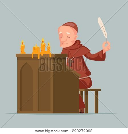 Monk Write Chronicles Historical Events Writer Scribe Medieval Stand Feather Pen Ink Scroll Copy Can