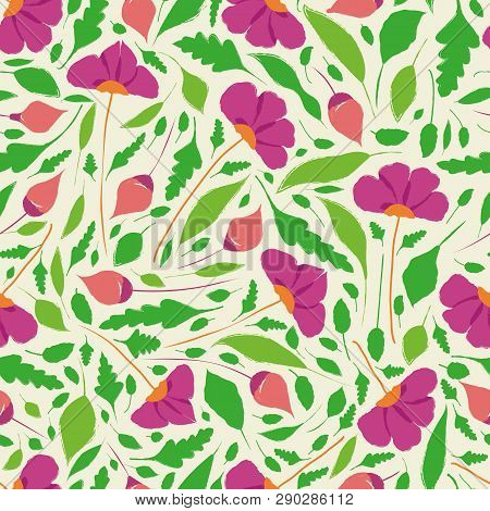 Elegant Hand Drawn Flowers, Buds And Leaves In Floral Garden Meadow Design. Seamless Vector Pattern