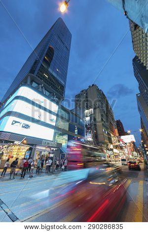 Hong Kong, China - June 07, 2016 : Skyscraper And Traffic In Mongkok District In Hong Kong. Mongkok