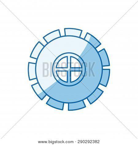 Blue Color Shading Silhouette Gear Wheel Pinion Icon Vector Illustration
