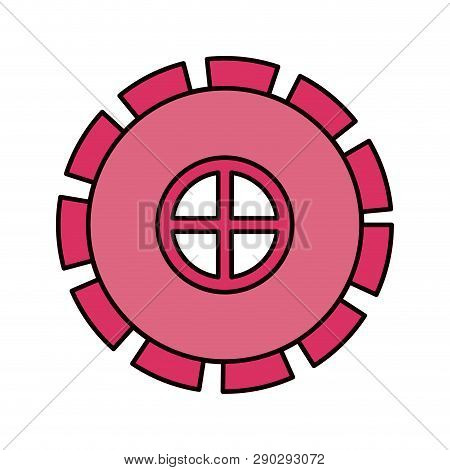 Color Sketch Silhouette Gear Wheel Pinion Icon Vector Illustration