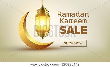 Ramadan Sale Banner Vector. Eid Background. Offer Tag. Super Sale. Islamic Poster. Arabic Template.
