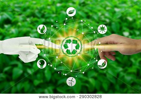 Robot And Human Hands With Touching Virtual Environment Icons Over The Network Connection On Nature