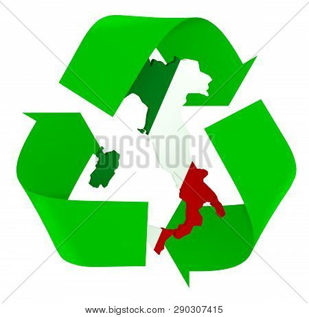 Symbol Recycle With Italian Maps And Flag Colors, The Green, White And Red, 3d Illustration