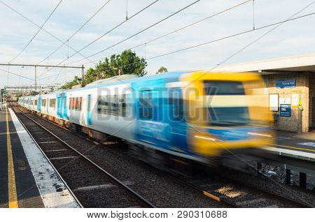 Melbourne, Australia - January 7, 2019: Melbourne Metro Suburban Electric Train At Victoria Park Rai