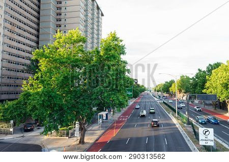 Melbourne, Australia - January 7, 2019: Traffic On Hoddle Street In Abbotsford. Hoddle Street Or Pun