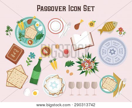 Passover Icon Set With Seder Plate Hagadah And Wine-vector
