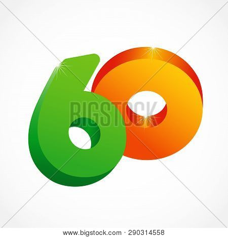 60 Th Years Old Congrats. Isolated Abstract Colored Graphic Design Template. Up To -60 % Logotype. R