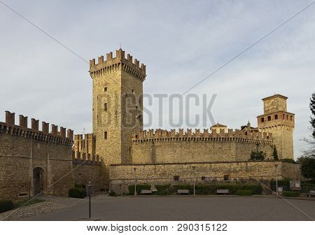 The Castle Of Vigoleno Is Surrounding By Powerful Embattled Walls