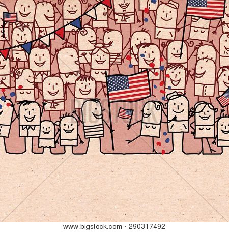 Hand drawn Cartoon People Crowd and Happy  National American Day