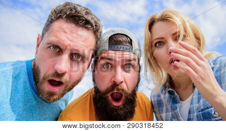 Friends Shocked Faces Looking At You. That Is Impossible. Shocking News. Amazed Surprised Face Expre