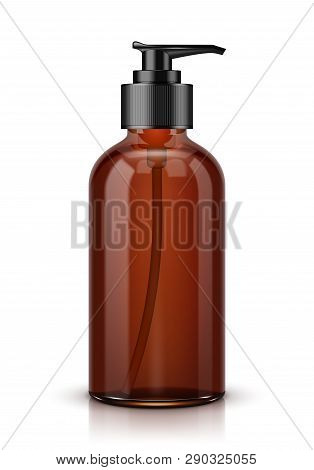 Brown Cosmetic Bottle With Batcher