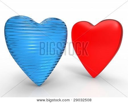 3D Blue And Red Glass Heart