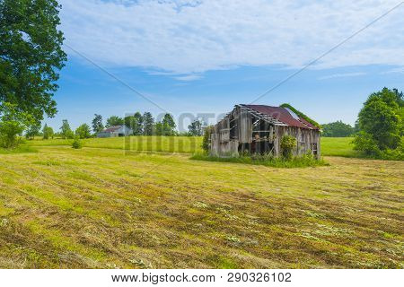 Old Barn In A Hayfield Near Ky State Park