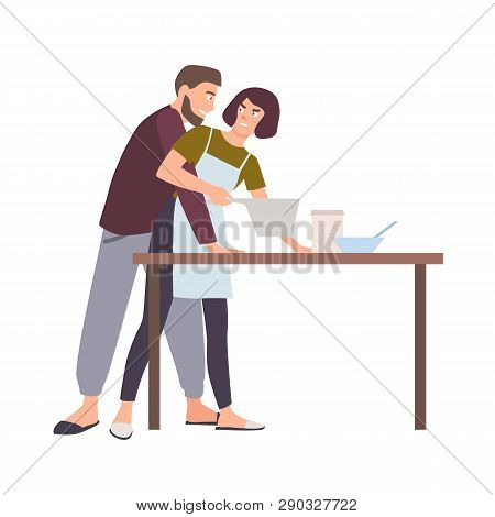 Husband Groping Wife While She Is Cooking. Abusive Behavior Of Spouse Or Partner, Domestic Violence,