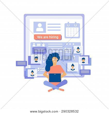 Recruitment Concept With Characters For Social Media, Documents, Employee Hiring, Web Banner, Infogr