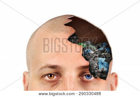 Broken Half Of Head With Rubbish Bags On White Background