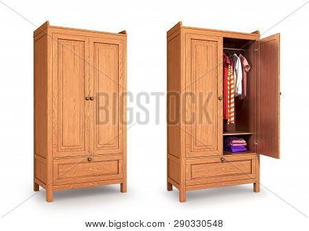 Wooden Cabinet, Isolated On White Background. 3d Illustration