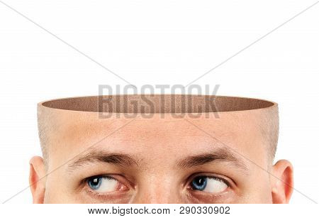 A Cut Of An Empty Head On A White Background