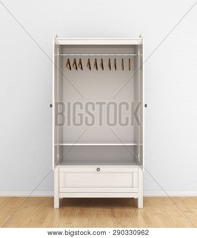Open The White Wardrobe With The Hangers Inside. 3d Illustration