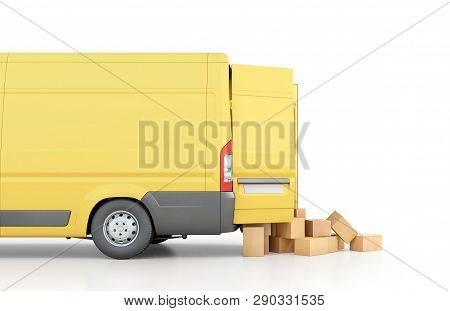 Delivery Concept. Cardboard Boxes Drop Out From The Transport Isolated On A White Background. 3D Ill