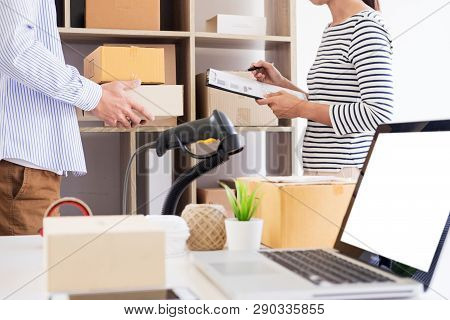 Businessman Entrepreneur Shop Owner  Check Order Or List Inventory In Stock Which To Be Delivery Roo