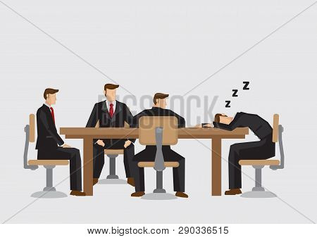Cartoon Man Taking A Nap During Boring Business Meeting. Vector Illustration Isolated On Plain Backg